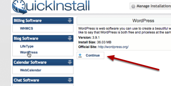 quickinstall wordpress